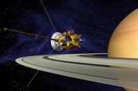 artists concept of Cassini during the Saturn Orbit Insertion