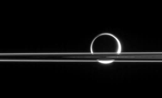 Rings Occulting Titan (Image courtesy NASA)